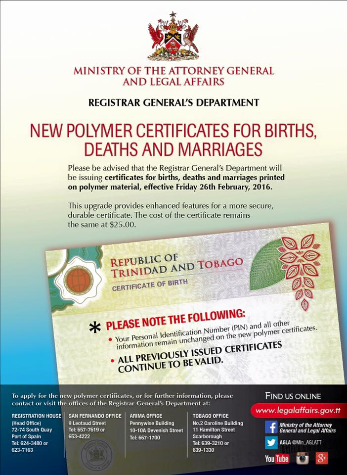 New polymer certificates for births deaths and marriages - General register office birth certificate ...