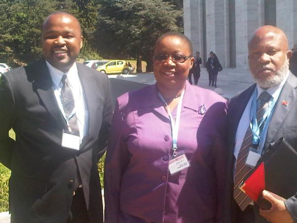Caption: L-R Director International Cooperation Desk Ministry of Health David Constant; Permanent Secretary Ministry of Health Sandra Jones and Permanent Mission of T&T in Geneva, Ambassador Dennis Francis at the 64th World Health Assembly - May 20 2011