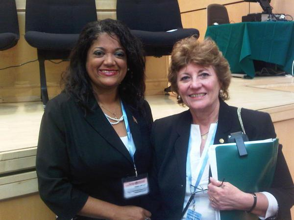 Caption: World Health Assembly Vice President Minister of Health Therese Baptiste-Cornelis with the Director of PAHO Dr. Mirta Roses Periago at the 64th World Health Assembly in Geneva on 20th May 2011.