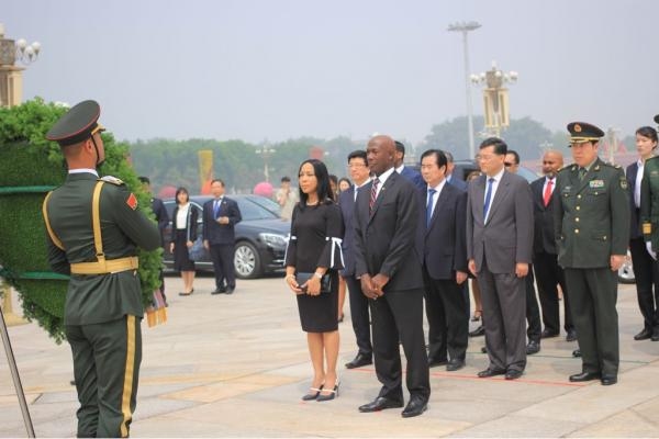 Prime Minister Rowley and his wife, Mrs Sharon Rowley, during the wreath laying ceremony at the Monument to the People's Heroes in Beijing