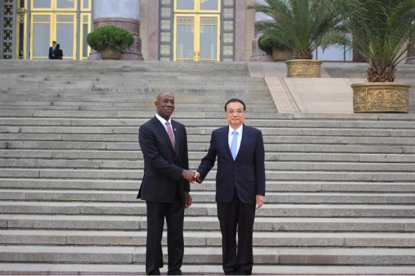 Prime Minister of the Republic of Trinidad and Tobago Dr the Honourable Keith Rowley and His Excellency Li Keqiang, Premier of the State Council of the People's Republic of China at the Great Hall of the People in Beijing