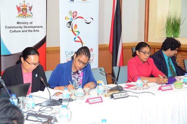 From left: Riane de Haas-Bledoeg- Deputy Programme Manager for Culture of the CARICOM Secretariat, Dr. Hilary Brown- Programme Manager for Culture of the CARICOM Secretariat, Ms. Susan Shurland- Deputy Permanent Secretary and Mr. Tej Ramlogan, Director of Culture of the MCDCA during the IFD meeting at the Hilton Trinidad and Conference Centre